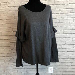NWT! Wearing your❤️ Grey ruffle  sweater L